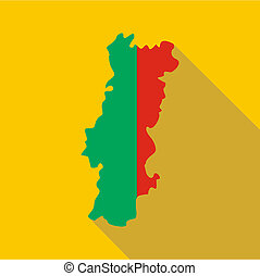 Portugal map icon, flat style