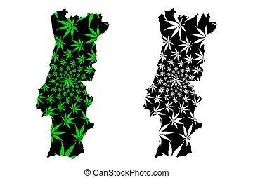 Portugal - map is designed cannabis leaf