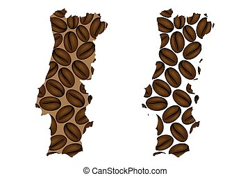 Portugal map - Portugal - map of coffee bean, Portuguese...