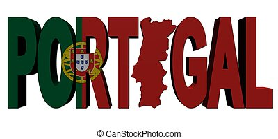 Portugal map text with flag illustration