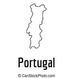 Portugal map thin line simple