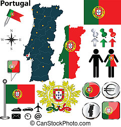Portugal map - Vector set of Portugal country shape with...