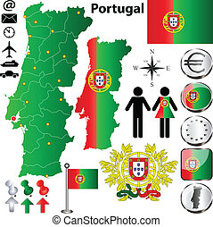 Vector set of Portugal country shape with flags, buttons and icons isolated on white background