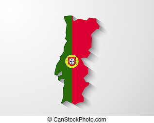 Portugal map with shadow effect presentation