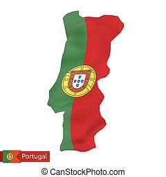Portugal map with waving flag of Portugal.