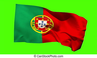 Portugal national flag blowing in the wind