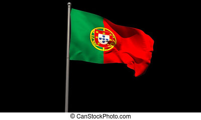 Portugal national flag waving on flagpole on black...