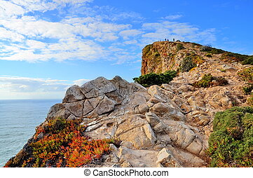 (portugal), penhascos, mar, rocha
