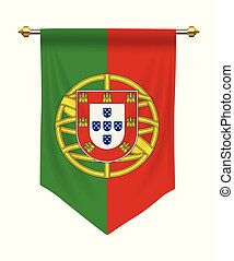 Portugal Pennant - Portugal flag or pennant isolated on...