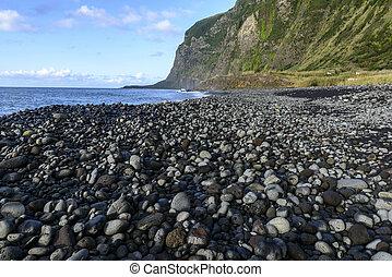 (portugal), piedra, azores, archipiélago, flores, playa