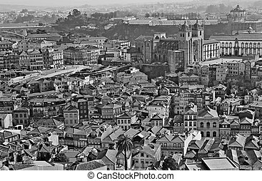 Portugal. Porto. Aerial view over the city. In black and white
