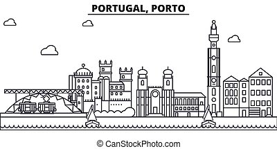 Portugal, Porto architecture line skyline illustration. Linear vector cityscape with famous landmarks, city sights, design icons. Editable strokes