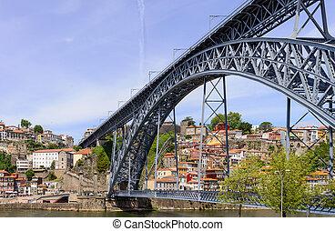 portugal, porto, dom, pont, sur, louis, rivière, douro.