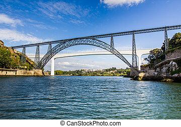 portugal, porto, métallique, rivière, faisceau, ponts