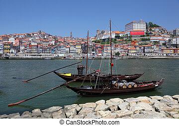 portugal, porto, traditionnel, bateaux, douro, rivière
