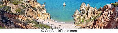 portugal, praia, panorámico, lagos, camillo, vista