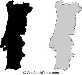 portugal, projection., map., noir, white., mercator