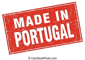 Portugal red square grunge made in stamp