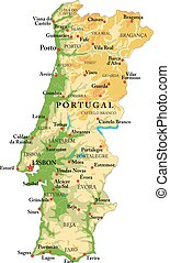 Portugal relief map - Highly detailed physical map of ...