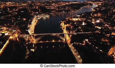 portugal, rivière, sur, luis, porto, douro, éclairé, ponte, vue, cityscape, dom, panoramique, nuit