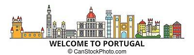 portugal, señales, silueta, vector, banner., portugués, delgado, urbano, viaje, línea, plano, cityscape, iconos, perfil de ciudad, contorno, illustrations.