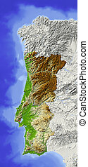 Portugal, shaded relief map - Portugal. Shaded relief map....