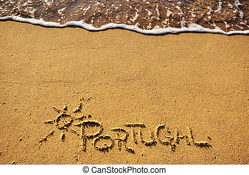 Portugal sign on the beach