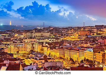 portugal, skylin, lisbonne