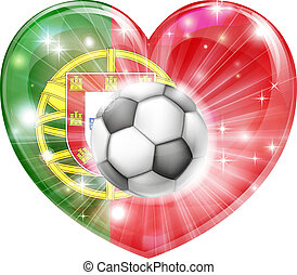 Portugal soccer heart flag - Portugal soccer football ball...