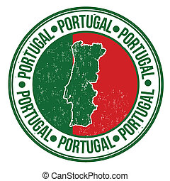 Portugal stamp - Grunge rubber stamp with portugal flag, map...