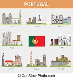 Portugal. Symbols of cities. Vector set