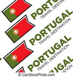 Portugal travel destination with national flag seamless pattern