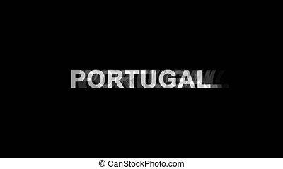 portugal, tv, texte, effet, déformation, glitch, animation, 4k, numérique, boucle