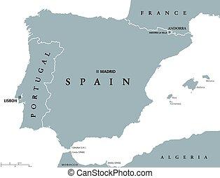 portugal, und, spanien, politisch, landkarte