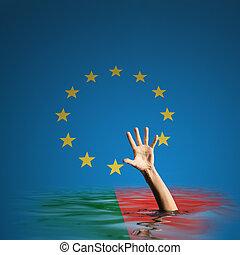 portugal, unión, ilustración, europeo, deuda, crisis, 3d