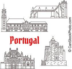 portugal, vecteur, repères, bâtiments, architecture