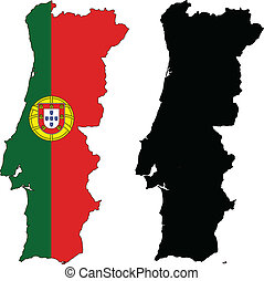 vector map and flag of Portugal with white background.