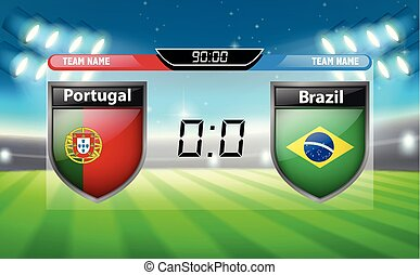 Portugal VS Brazil scoreboard illustration