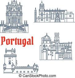 portugal, wahrzeichen, architektonisch, reise, ikone