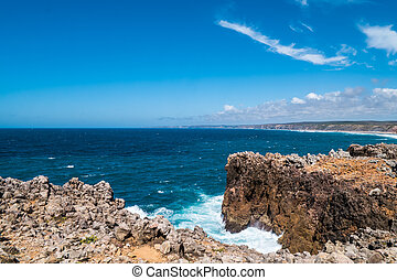Portugal - Waves braking on cliffs - The waves of the...