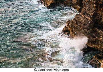 Portugal - Waves braking on cliffs - Waves braking on cliffs...