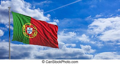 Portugal waving flag on blue sky. 3d illustration