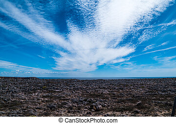 Portugal - White clouds in blue sky - White clouds spanning...