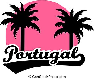 Portugal with pink sun and palms