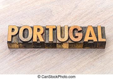 Portugal word in vintage wood type