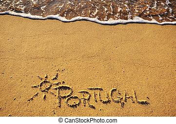 portugal, zeichen, strand
