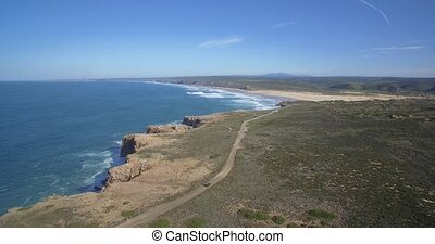 portugal,  zimbreirinha, Linien, Luftaufnahmen,  da,  praia, steil, felsformation