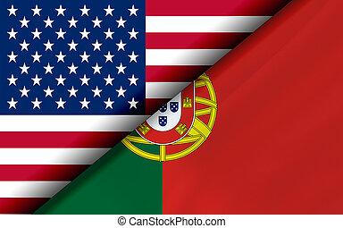 portugalia, diagonalno, podzielony, usa, bandery