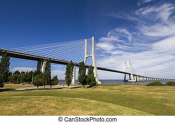 portugalia, vasco, da, umieszczony, zdumiewający, lisbona, most, gama