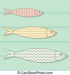 portugees, gekleurde, achtergrond., houten, visje, illustratie, traditionele , motieven, vector, chevron, sardines, icon., geometrisch